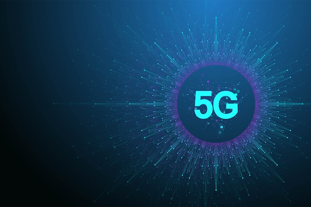 5gネットワーク無線システムとインターネットの図。通信ネットワークバナー