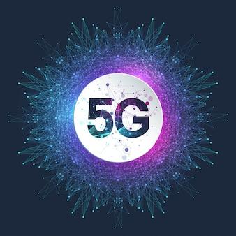 5g 네트워크 무선 시스템 및 인터넷 그림. 통신 네트워크. 비즈니스 개념 배너입니다. 인공 지능 및 기계 학습 개념 배너