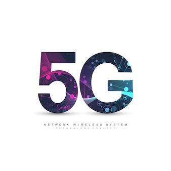 Беспроводные системы сети 5g и иллюстрация интернета. сеть связи.