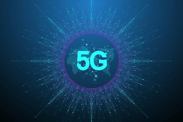 5gネットワークワイヤレスシステムとインターネットベクトルイラスト。通信ネットワーク。ビジネスコンセプトバナー。人工知能と機械学習のコンセプトバナー