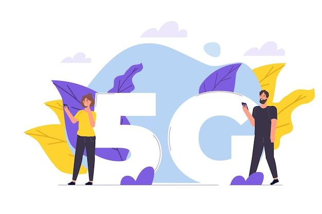 5gネットワークワイヤレスシステム、高速モバイルインターネットのコンセプト。ベクトルイラスト