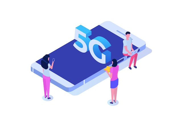 5g network wireless systems, high-speed mobile internet isometric concept.
