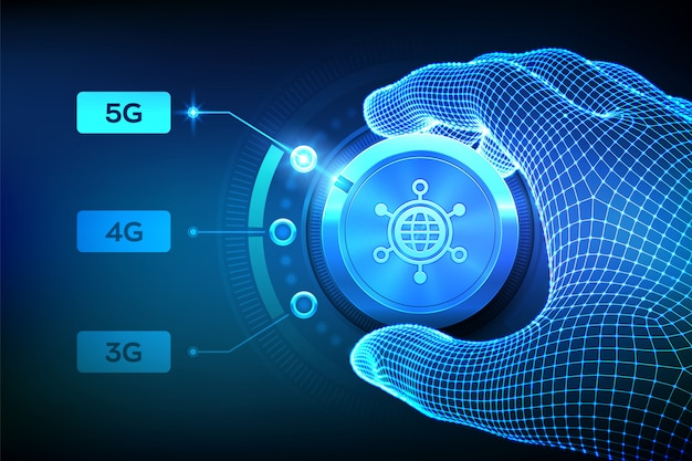 5g network wireless systems and internet of things. wireframe hand turning the mobile network selector button to the next 5g generation.