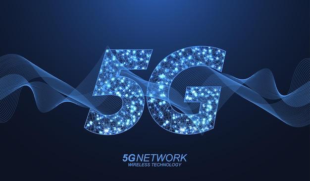 5gネットワークワイヤレステクノロジーのコンセプト。ビジネスとテクノロジー、信号、速度、ネットワーク、ビッグデータ、テクノロジー、iot、トラフィックのアイコンを表す5gwebバナーアイコン。 5gシンボル波の流れのベクトル。