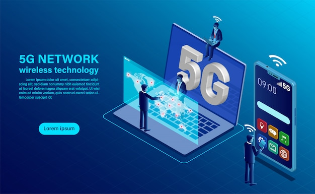 5g network wireless technology concept. smartphone with big letters 5g and people with mobile devices are sitting and standing on