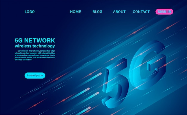 5g network wireless technology high speed.  isometric flat design  illustration
