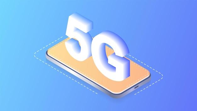 Иллюстрация беспроводной сети 5g мобильный интернет нового поколения дизайн веб-страниц