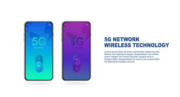 5gネットワークワイヤレステクノロジー次世代webページデザインテンプレートのモバイルインターネット