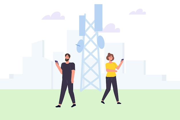 5g network wireless technology small characters concept. vector illustration.