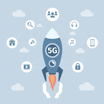 5g network wireless technology vector flat banner concept. space racket with 5g technology flying.