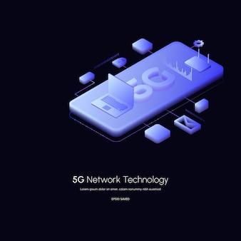 5g 네트워크 무선 기술 벡터 illustration5g 아이소메트릭 스마트폰