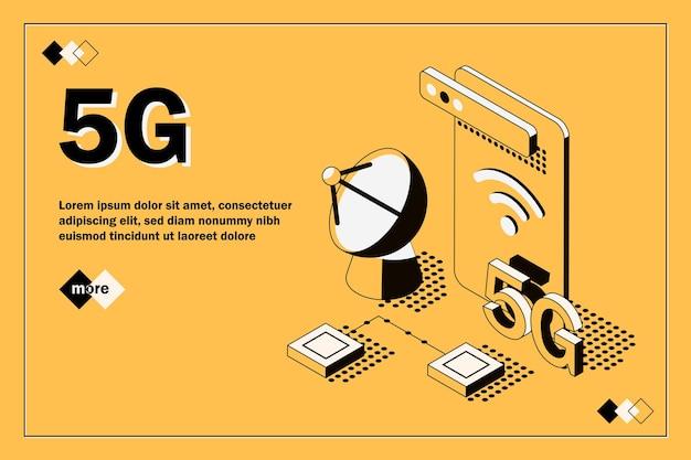 Векторная иллюстрация беспроводной сети 5g