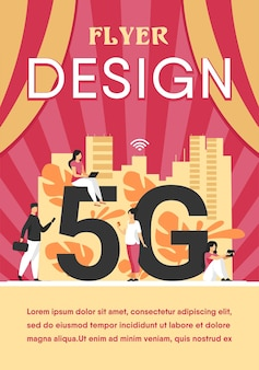 5g networks and telecom concept. people using digital devices. flyer template