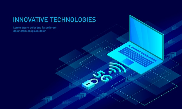5g new wireless internet wifi connection. laptop mobile device isometric