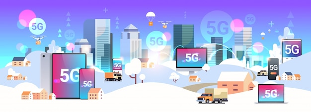 5g online wireless system connection fifth innovative generation of high speed internet urban winter landscape snowy street modern cityscape background horizontal flat