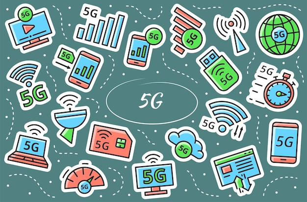 5g related stickers set. new mobile network, high speed connection. simple vector infographic.