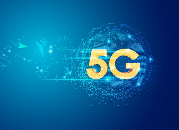 5g sign in global communication theme