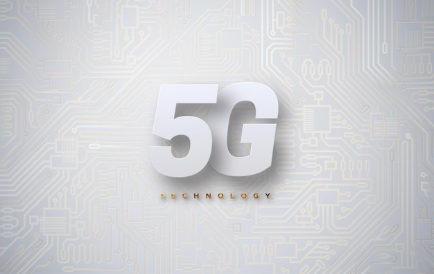 5g sign on technology background with circuit board texture