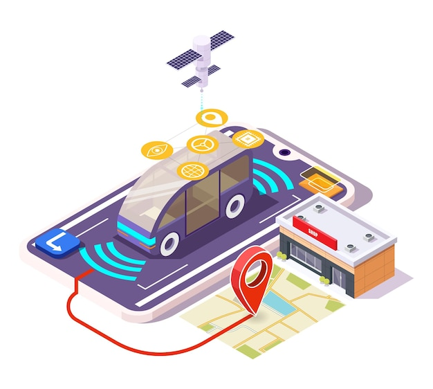 5g smart car on smartphone screen, city map with location pin, shop building, flat vector isometric illustration.