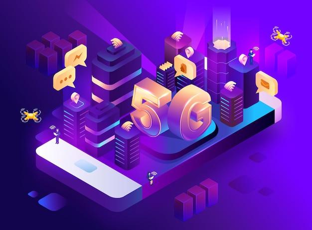Абстрактное будущее умного города 5g или мегаполис. бизнес-концепция интеллектуальной системы автоматизации зданий. изометрическое пространство с подключенными точками и линиями. векторная иллюстрация запаса