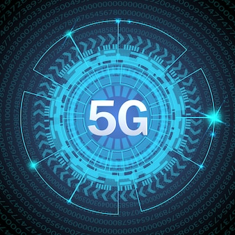 5g standard of modern signal transmission technology. 5g new wireless internet wifi connection. big data binary code flow numbers.
