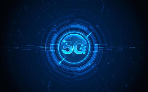 Символ 5g новое беспроводное подключение к интернету wi-fi пятое инновационное поколение глобальных высокоскоростных сетей