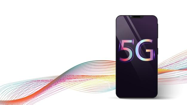 5gテクノロジー。碑文5g、インターネットの高速を備えた黒いスマートフォン。