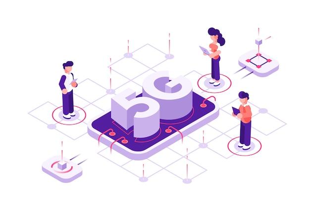 Концепция технологии 5g с символами. можно использовать для веб-баннера, инфографики, изображения героя. плоские изометрические векторные иллюстрации изолированы. люди с мобильными устройствами стоят возле телефона и большой буквы