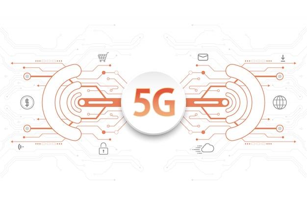 アイコンと白い背景の上のデジタル要素の5 g技術コンセプト