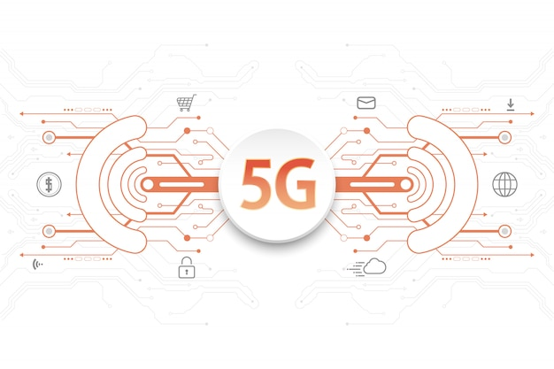 5g technology concept with icons and digital element on white background