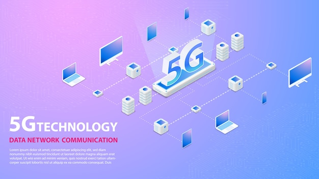 5g technology data network communication wireless hispeed internet banner