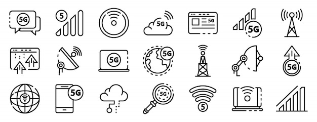 5g technology icons set, outline style