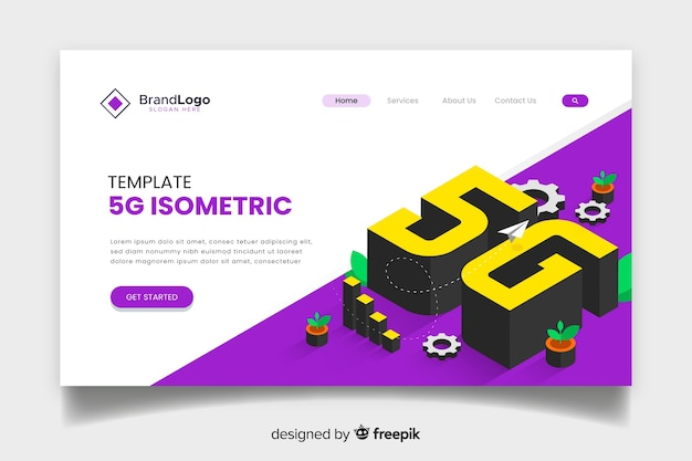 5g technology isometric landing page