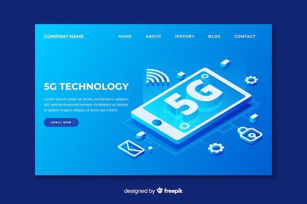 等尺性デザインの5gテクノロジーのランディングページ