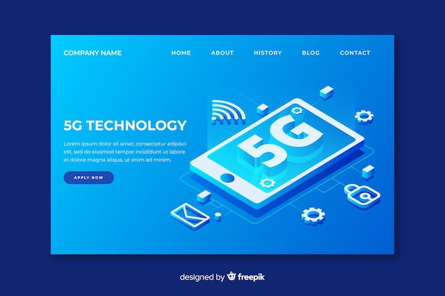 5g technology landing page in isometric design