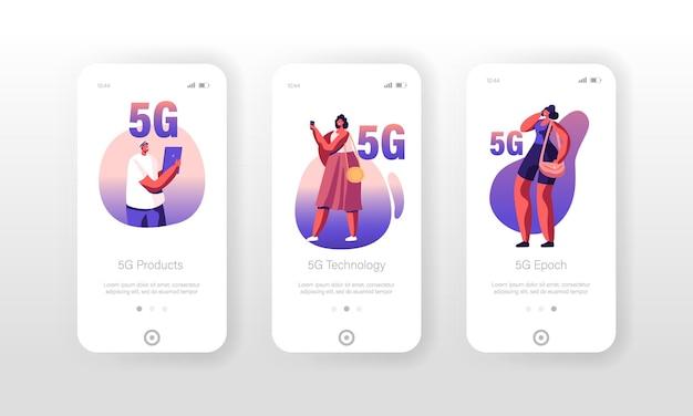 5g 기술 모바일 앱 페이지 온보드 화면 세트.