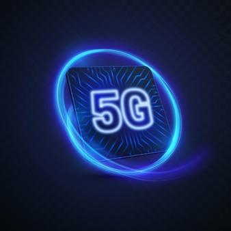 Знак технологии 5g с текстурой печатной платы и неоновым светом