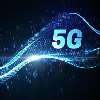 Знак технологии 5g с неоновым светящимся виртуальным потоком данных