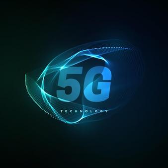 ネオンの輝く波と5gテクノロジーサイン