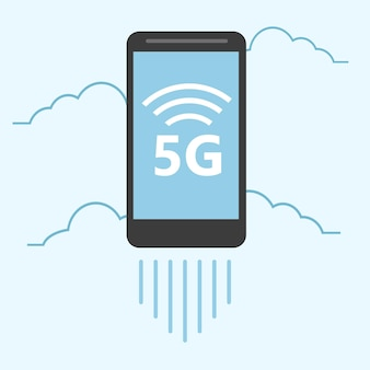 5g template with smartphone flying. high speed mobile web technology. vector illustration.