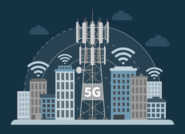 5g tower base station in innovative smart city, telecommunication antennas and signal.