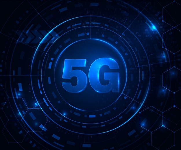 5g wireless internet concept. sign 5g network. glowing blue abstract background