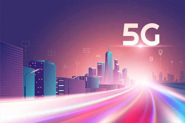 5gワイヤレスネットワーク。 5番目のインターネットサービス、モノとサービスのアイコン接続を備えた夜の都市、モノのインターネット、高速接続とモバイル接続を備えた5gネットワークワイヤレス