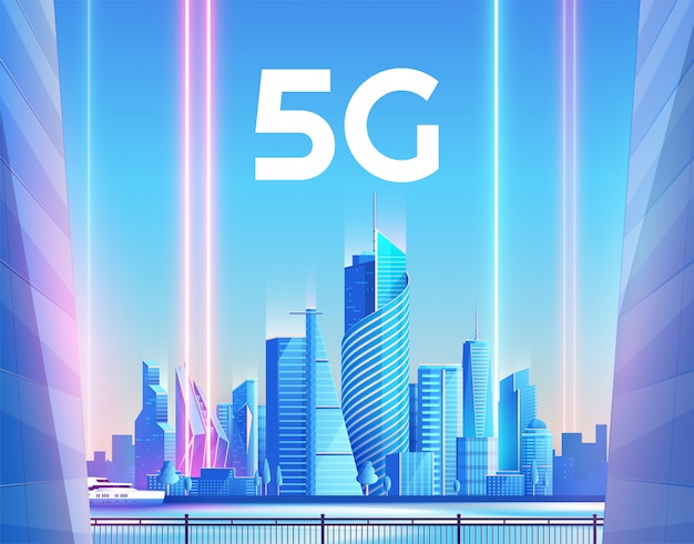 5g wireless network and smart city concept.