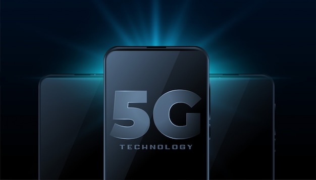 Технология беспроводного интернета 5g с реалистичным мобильным смартфоном
