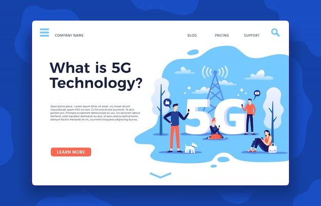 Сеть 5g, целевая страница. быстрый интернет, беспроводная высокоскоростная связь и сети пятого поколения векторная иллюстрация