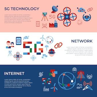 Мобильный 5g технология и коллекция сетевых значков