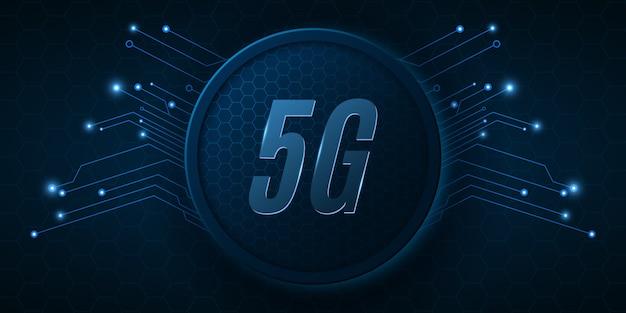 Современный баннер для сети 5g. высокотехнологичная печатная плата. современные технологии дизайна.