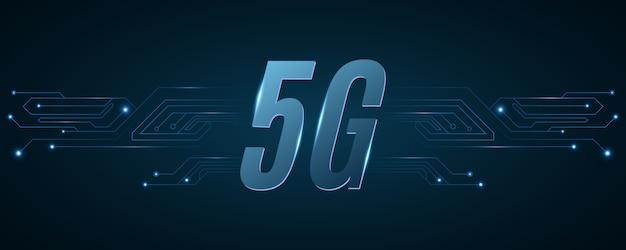 5g сетевой фон. высокотехнологичная печатная плата. современные технологии дизайна.