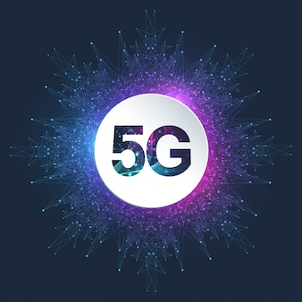 Беспроводные системы сети логотипа 5g и иллюстрация вектора интернета.